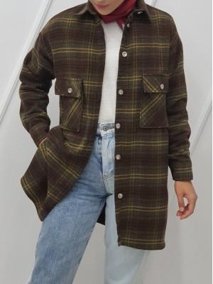 Double Pocket Slit Mid-Length Lumberjack Shirt -Khaki