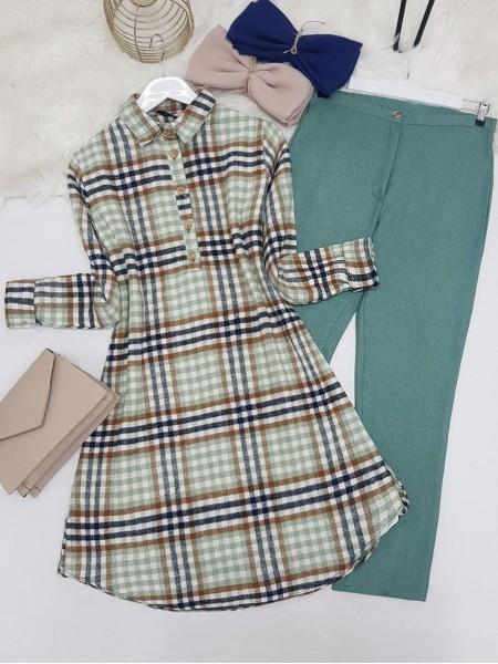 Half Button Lumberjack Tunic -Green
