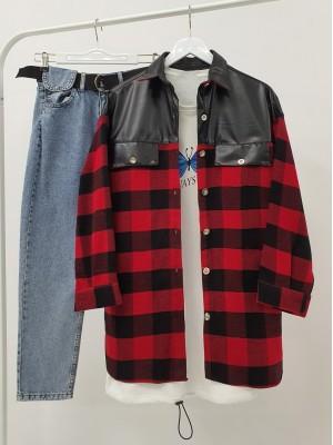 Leather Detailed Slit Lumberjack Shirt -Red