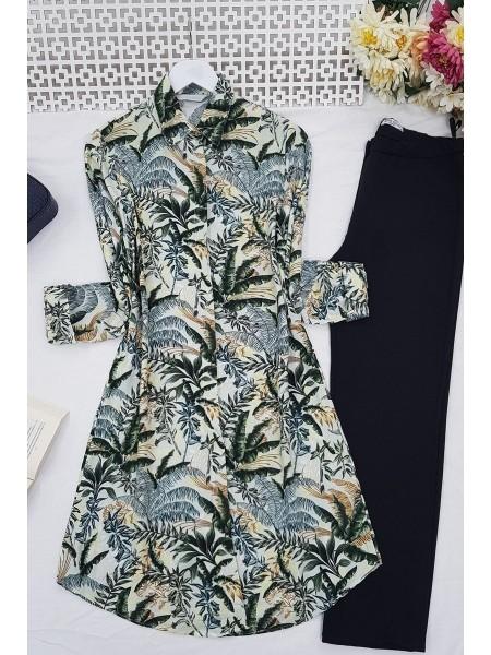 Leaf Patterned Tunic -Khaki