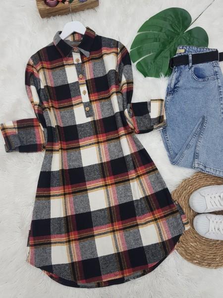 Half Button Lumberjack Tunic  -Black