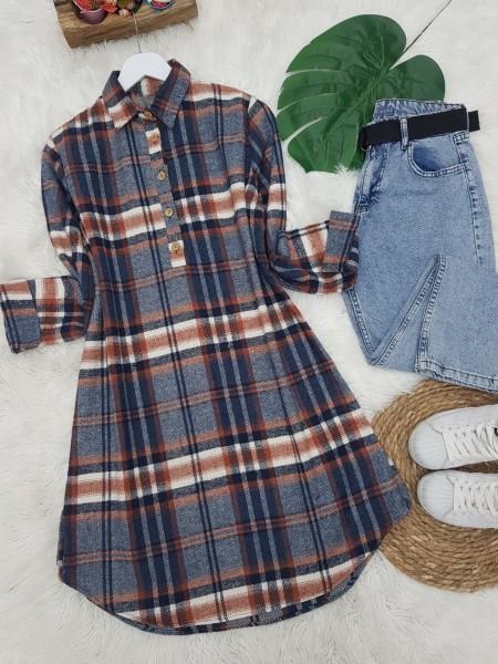Half Button Lumberjack Tunic -İndigo