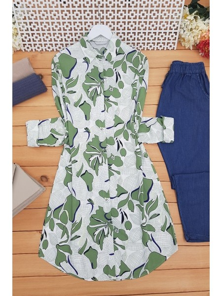 Big Leaf Patterned Tunic -Green
