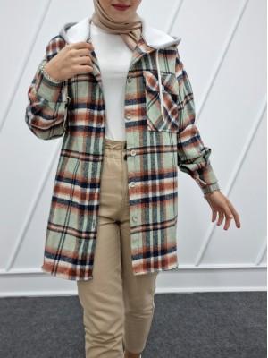 Hooded One Pocket Slit Lumberjack Shirt  -Sea green