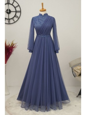 Stone Detailed Tulle Evening Dress  -Blue
