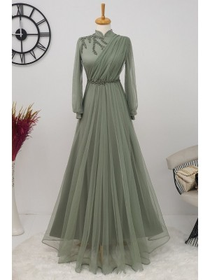 Stone Detailed Tulle Evening Dress  -Green