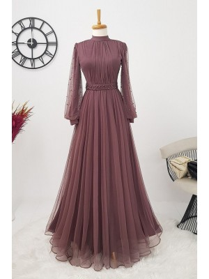 Pearl Tulle Evening Dress   -Cherry Color