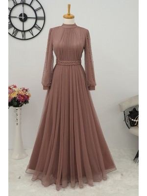 Pearl Tulle Evening Dress  -Mink color