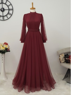 Pearl Tulle Evening Dress -Maroon