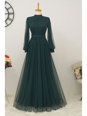 Pearl Tulle Evening Dress -Emerald