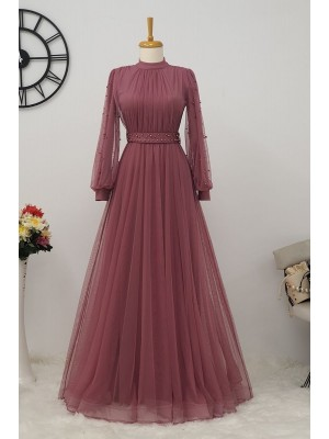 Pearl Tulle Evening Dress -Dried rose