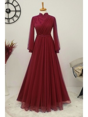 Stone Detailed Tulle Evening Dress  -Maroon