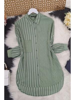 Upright Striped Shirt -Green