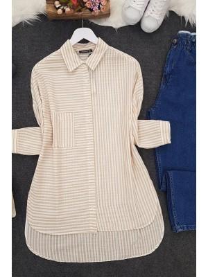 Side Striped Shirt -Mink color