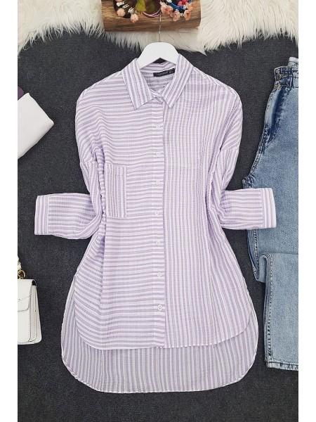 Side Striped Shirt  -Lilac