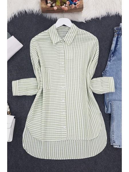 Side Striped Shirt  -Green