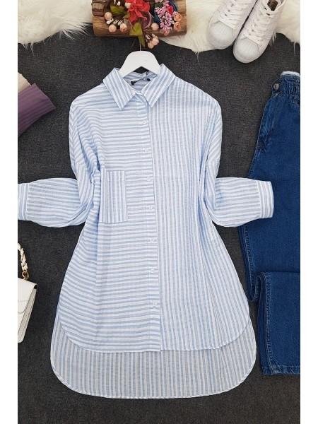 Side Striped Shirt -Blue