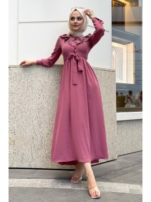 Lace-Up Long Dress -Dried rose