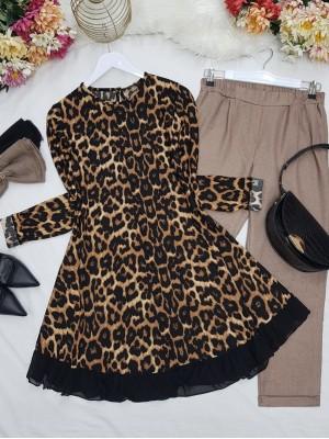 Skirt Chiffon and Frilly Patterned Tunic -Black