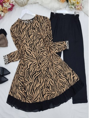 Skirt Chiffon and Frilly Patterned Tunic -Mink color