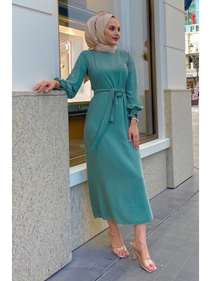 Pearl Detailed Long Dress with Stones on the Sleeves -Mint Color