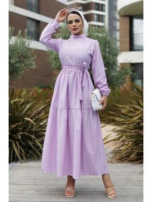 Judge Collar Back Zipper Laced Dress -Lilac