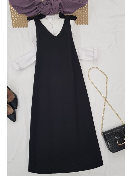 Long Gilet With Tied Shoulders -Black