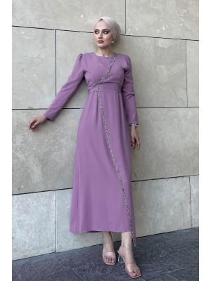 Stone Detailed Waist Tie Dress -Lilac