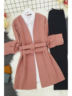 Double Strap Front Pleated Jacket -Dried rose