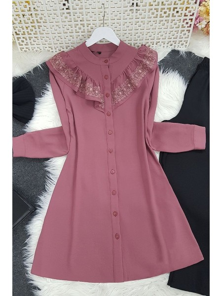 Lace Detailed Tunic -Dried rose