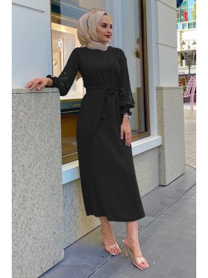 Pearl Detailed Long Dress with Stones on the Sleeves -Black