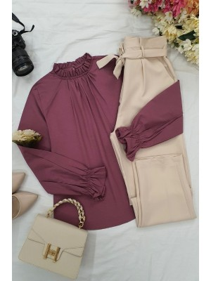 Pleated Collar Blouse  -Dried rose