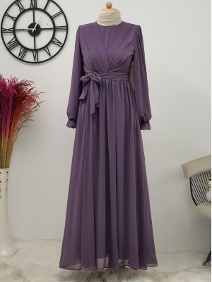 Long Chiffon Dress With Elastic Sleeves and Pleated Front -Lilac