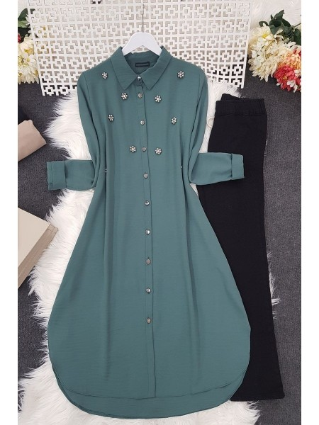 Stone Detailed Tunic -Green