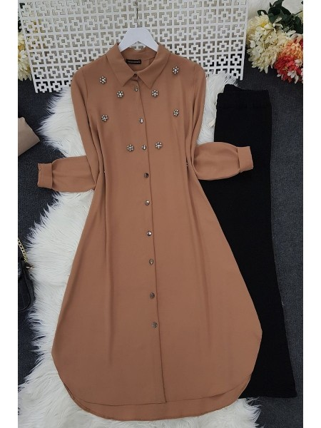Stone Detailed Tunic -Mink color