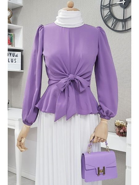 Front Tie Blouse -Lilac