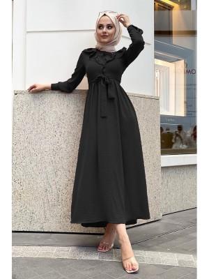 Lace-Up Long Dress -Black