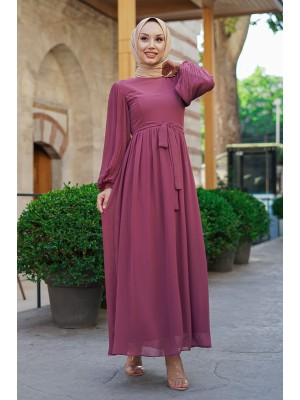 Sleeves Pleated Detailed Front Cup Chiffon Dress -Dried rose