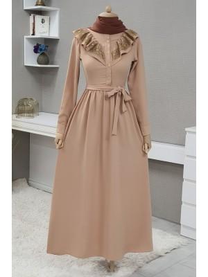 Lace-Up Long Dress - Beige