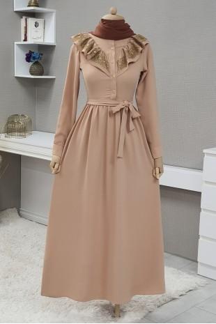 Yakası Güpürlü Uzun Elbise -Bej