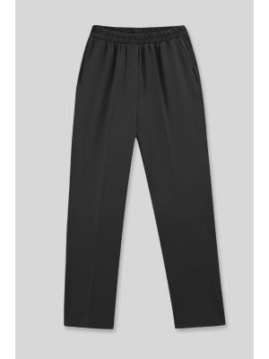 Pocket Elastic Waist Trousers -Black