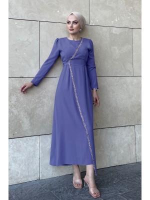 Stone Detailed Waist Tie Dress -İndigo