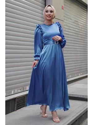 Ruffle Detailed Stone Belt Dress on Shoulders -Blue