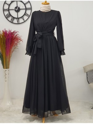 Long Chiffon Dress With Elastic Sleeves and Pleated Front -Black