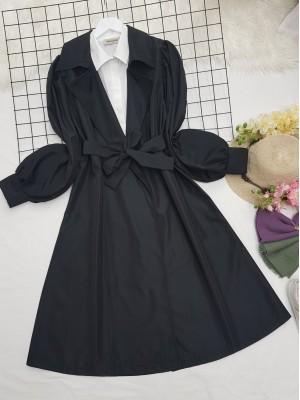 Balloon Sleeve Jacket Collar Belt Long Trench Coat -Black