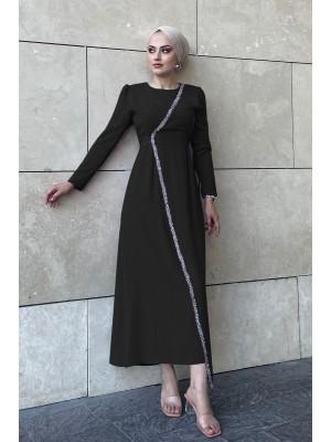 Stone Detailed Waist Tie Dress -Black