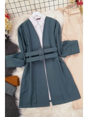 Double Strap Front Pleated Jacket -Emerald
