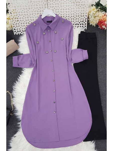 Stone Detailed Tunic -Lilac