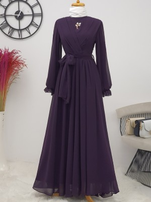 Long Chiffon Dress With Elastic Sleeves and Pleated Front - Purple