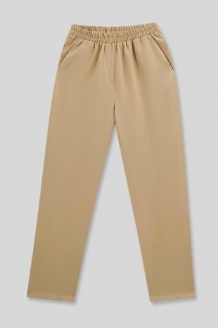 Cepli Beli Lastikli Pantolon    -Bej